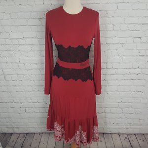 DESIGUAL Red Black Lace tiered long sleeve Dress S